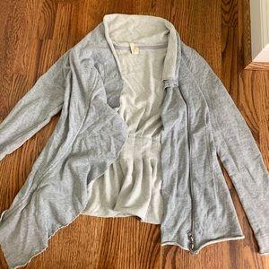 Free People grey zipper cardigan
